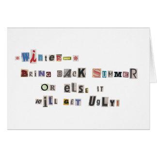 Divertido traiga detrás el collage de la nota de r tarjeta de felicitación