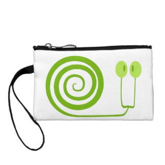 Divertido y alegre caracol verde con espiral