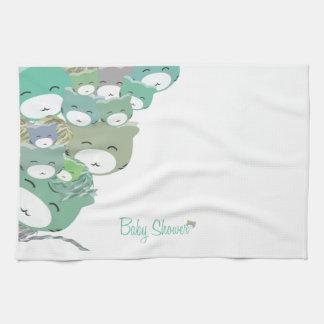 Divertidos gatitos infantiles azules,baby shower toalla de mano