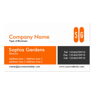 Divided Band - Orange and Dark Gray - Initials Business Cards
