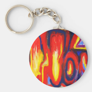 Divided Flames (abstract expressionism) Keychain