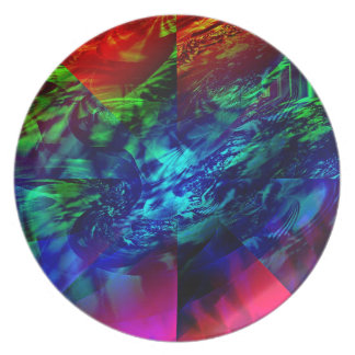 Divided Fractal Abstract Melamine Plate