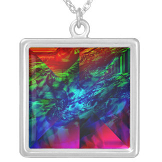 Divided Fractal Abstract Square Pendant Necklace