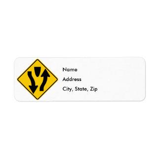 Divided Highway Begins Highway Sign Return Address Label