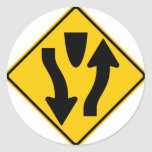 Divided Highway Begins Highway Sign Stickers