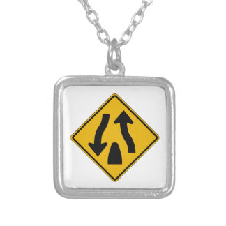 Divided Highway Ends 1, Traffic Warning Sign, USA Custom Necklace