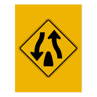 Divided Highway Ends 1, Traffic Warning Sign, USA Postcard
