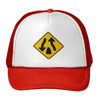 Divided Highway Ends 1, Traffic Warning Sign, USA Trucker Hat