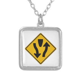 Divided Highway Ends 2, Traffic Warning Sign, USA Necklaces