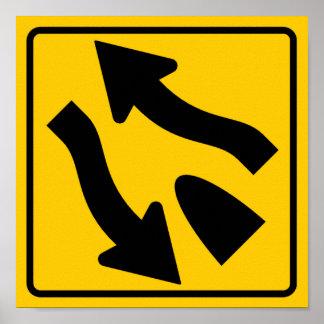 Divided Highway Ends Highway Sign