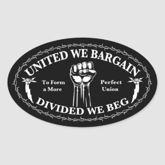 Divided We Beg Oval Sticker