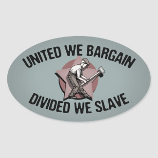 Divided We Slave Oval Sticker
