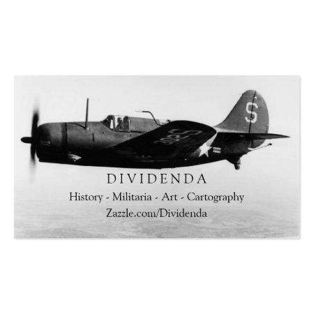 Monochrome Vintage Historic Military Plane Business Cards