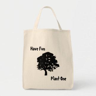 Diviértase, plante un tote orgánico del bolsa tela para la compra