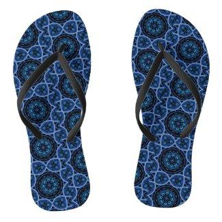 Divine Blue (Psychedelic, Geometric, Mandala) Flip Flops