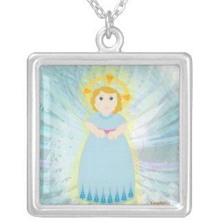 Divine Child Dazzling Blue Angel's Wings Charm Square Pendant Necklace