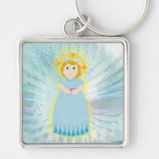 Divine Child Dazzling Blue Angel's Wings Key Ch. Silver-Colored Square Keychain