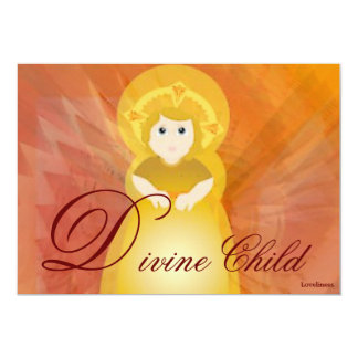 Divine Child Dazzling Love Fiery Angel's Wings 5x7 Paper Invitation Card