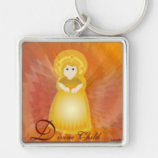 Divine Child Dazzling Love Fiery Angel's Wings Silver-Colored Square Keychain