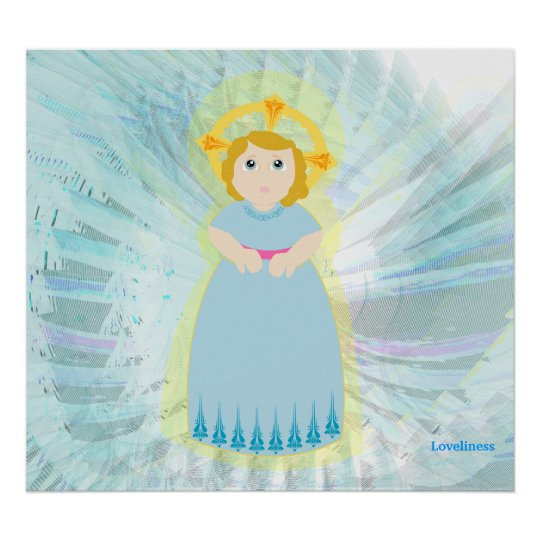 Divine Child Dazzling Love On Blue Angel's Wings Poster