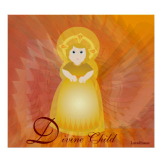 Divine Child Dazzling Love On Fiery Angel's Wings Poster