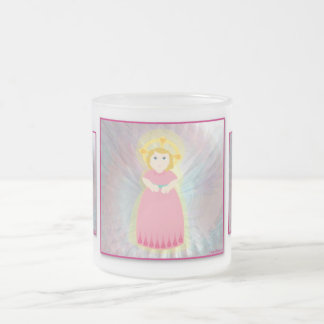 Divine Child Dazzling Love Pink Angel's Wings 10 Oz Frosted Glass Coffee Mug