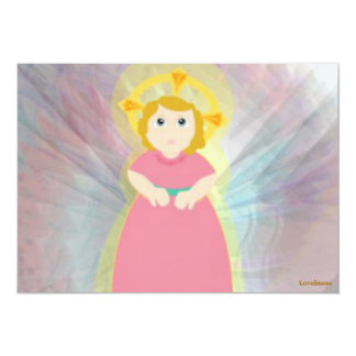 Divine Child Dazzling Love Pink Angel's Wings 5x7 Paper Invitation Card