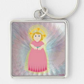 Divine Child Dazzling Love Pink Angel's Wings Silver-Colored Square Keychain