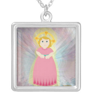 Divine Child Dazzling Love Pink Angel's Wings Square Pendant Necklace