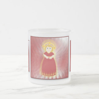 Divine Child Dazzling Love Red Angel's Wings 10 Oz Frosted Glass Coffee Mug