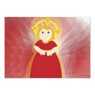 Divine Child Dazzling Love Red Angel's Wings 5x7 Paper Invitation Card