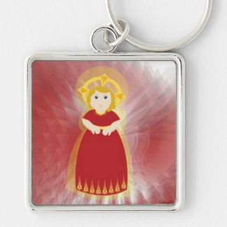 Divine Child Dazzling Love Red Angel's Wings Silver-Colored Square Keychain