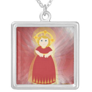 Divine Child Dazzling Love Red Angel's Wings Square Pendant Necklace