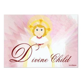 Divine Child Dazzling LoveBurgundy Angel's Wings 5x7 Paper Invitation Card