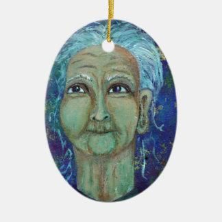 Divine Feminine Auntie Ebb Ceramic Oval Ornament