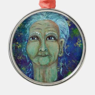 Divine Feminine Auntie Ebb Silver-Colored Round Ornament