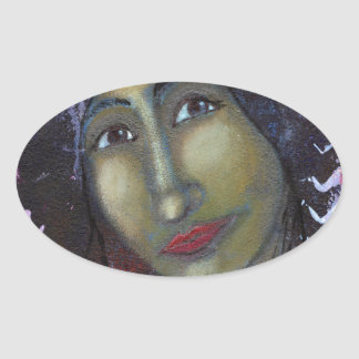 Divine Feminine Ayesha Oval Sticker