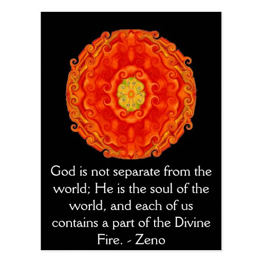 Divine Fire QUOTATION BY Zeno of Elea Post Cards