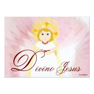 Divine Jesus Dazzling LoveBurgundy Angel's Wings 5x7 Paper Invitation Card