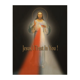 DIVINE MERCY DEVOTIONAL IMAGE. WOOD PRINT