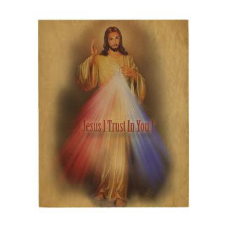 Divine Mercy Devotional Image. Wood Wall Decor