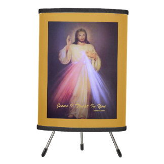 Divine Mercy Gold Tripod Lamp