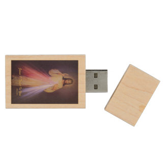 Divine Mercy Gold Wood USB Flash Drive