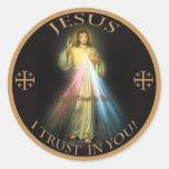 DIVINE MERCY, JESUS I TRUST IN YOU. CLASSIC ROUND STICKER