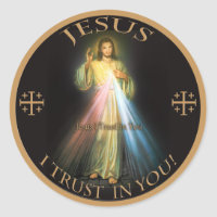 DIVINE MERCY, JESUS I TRUST IN YOU. CLASSIC ROUND STICKER