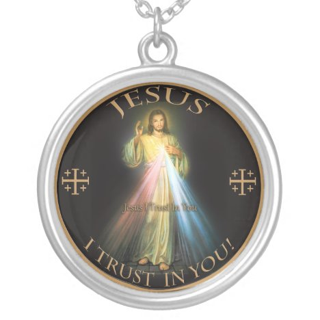 DIVINE MERCY, JESUS I TRUST IN YOU. SILVER PLATED NECKLACE