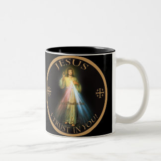 DIVINE MERCY, JESUS I TRUST IN YOU. Two-Tone COFFEE MUG