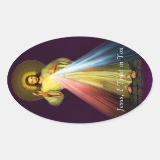 Divine Mercy Jesus Oval Stickers