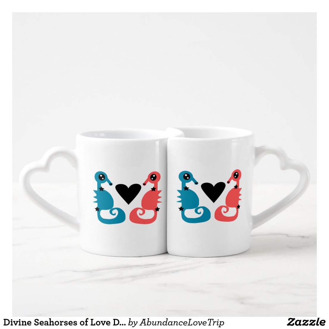 Divine Seahorses of Love Double Love Coffee Mug Set