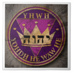"DIVINE SEAL shape tile6 Ceramic Tile<br><div class=""desc"">The DIVINE SEAL was designed as a tribute to Jehovah&#39;s Divine name. (Ps 83:18)  For emphasis it highlights his name in 3 different forms.  On top is the transliterated form,  at center is the Tetragrammaton and below it&#39;s in Hebrew letters. (wt 08 7/1 p. 30)</div>"